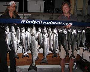 Specializing in Lake Michigan Trout and Salmon Charter Fishing Adventures from Waukegan Illinois for the Chicago, Waukegan and Winthrop Harbor areas